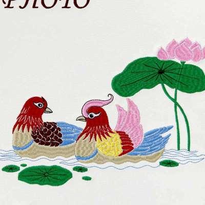 姿文相册 高档皮面刺绣 鸳鸯戏水 活页铁夹式相册/影集 zw-a4030 50页