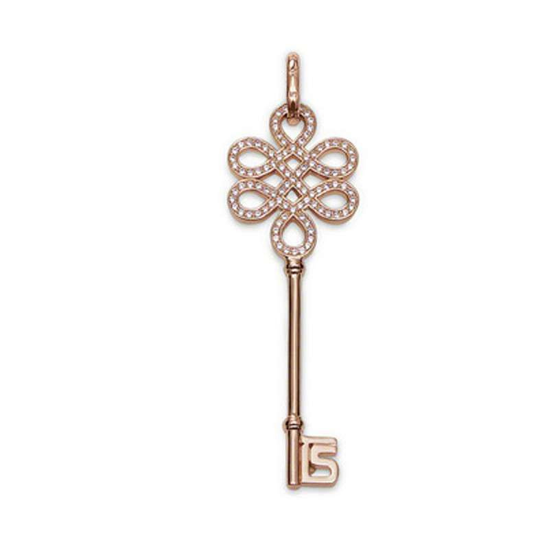 mike168 同心结钥匙型项链 女 925纯银镀玫瑰金 毛衣链 18k玫瑰金吊坠