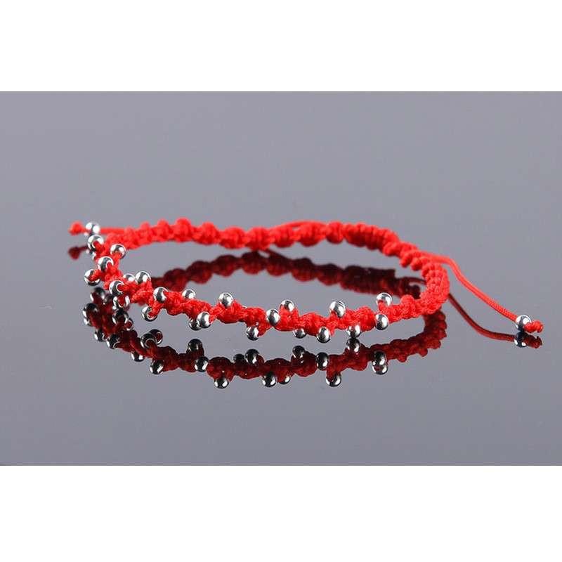 【悦人珠宝旗舰店手镯/手链】手工编织银珠手链-红绳
