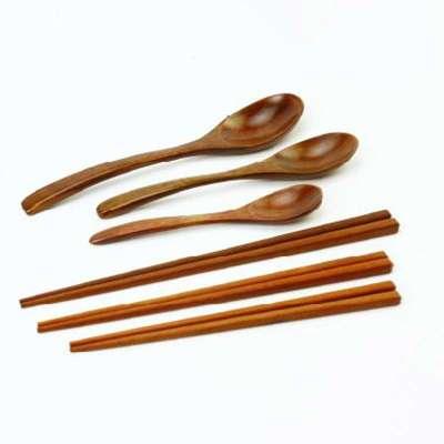 日光生活 韩式红木筷子勺子 环保无油漆 餐具套装w065