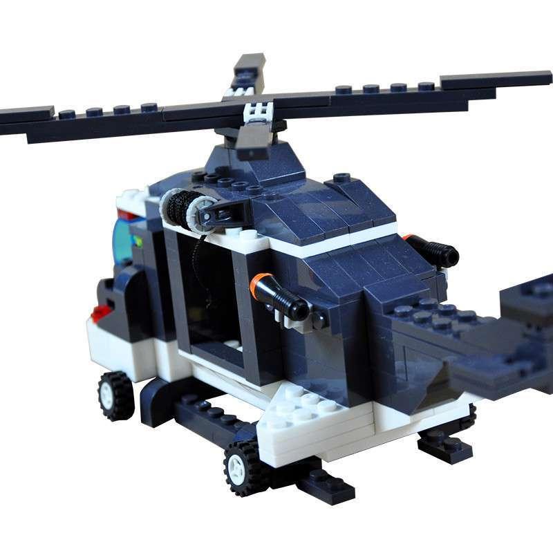 万格乐高式益智拼装积木 警察系列-警察直升机222片