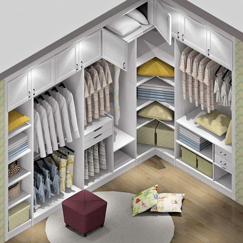 尚品宅配 定制衣帽间 韩式田园风格 嵌入式整体衣柜 隔板多储物 其他