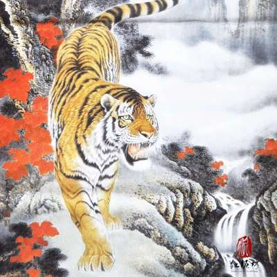 【红泥坊】杨柳青年画 松涛虎啸 中国梦 国画特色 印刷海报 求子祈福