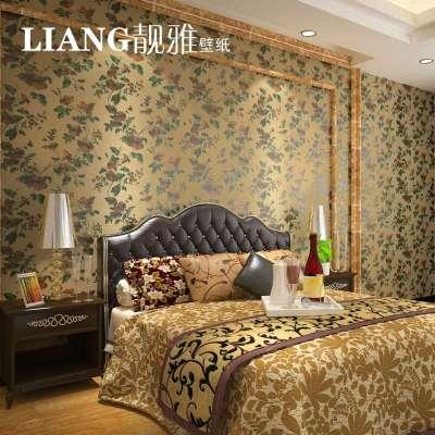 靓雅壁纸 金箔墙纸 中式田园壁纸 客厅卧室背景墙电视