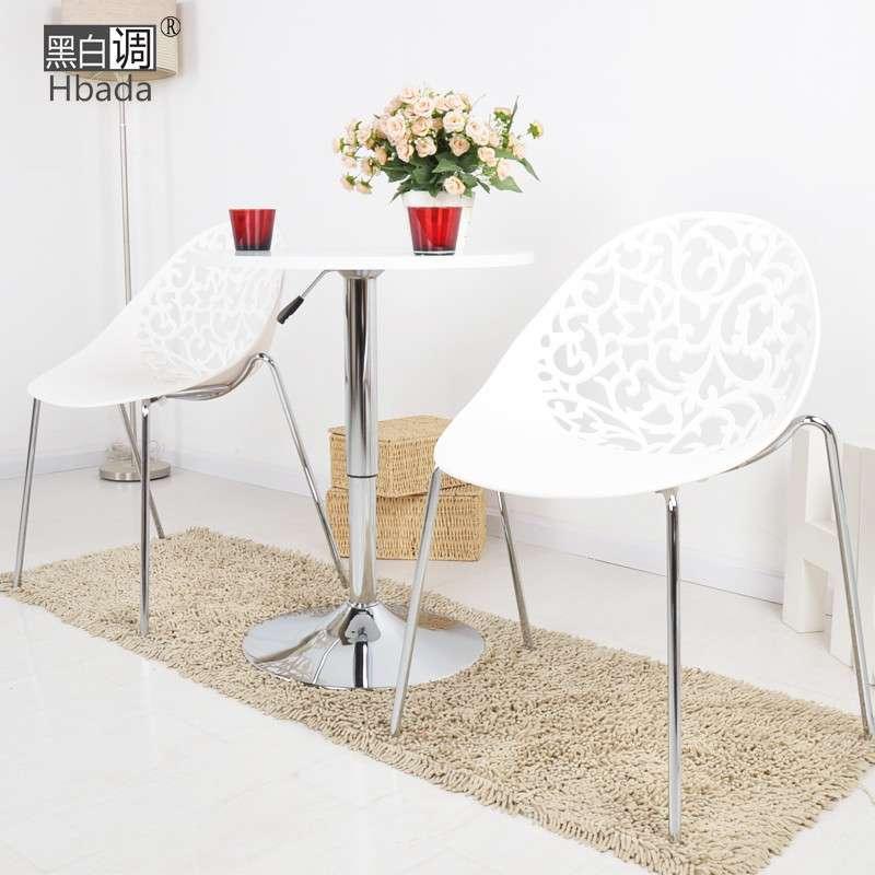 【黑白调】欧式咖啡桌子hcj52b圆桌时尚简约田园沙发小茶几 白色