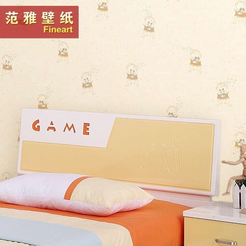 范雅壁纸纯纸壁纸卧室背景墙可爱卡通小猫儿童房墙纸欧雅6a12