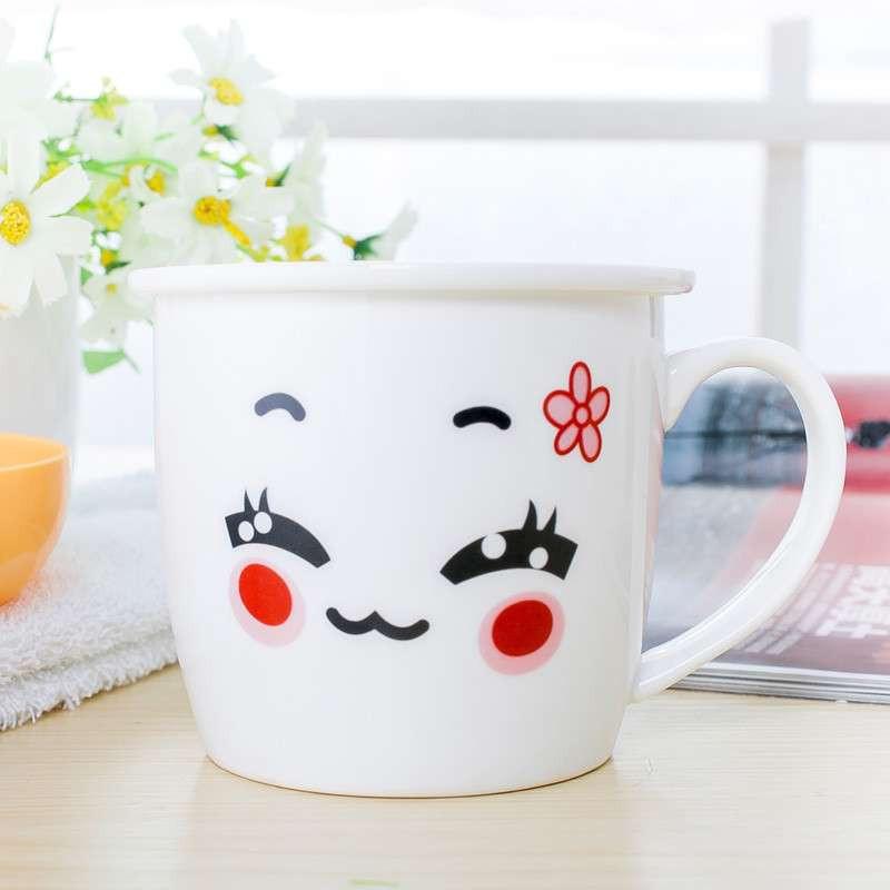 可爱时尚陶瓷杯子卡通杯马克杯具早餐牛奶杯奶茶咖啡杯送礼佳品 白色