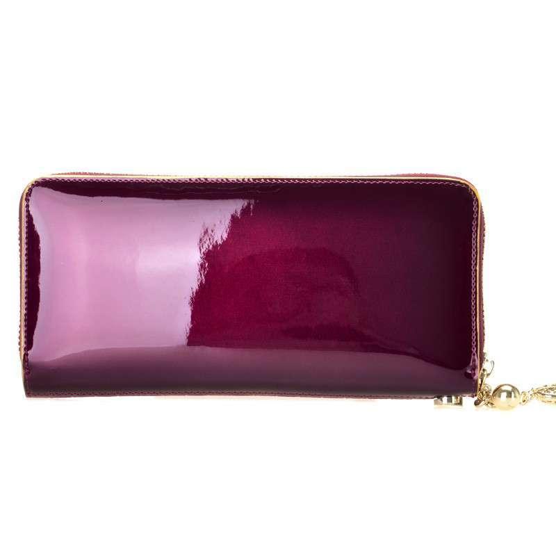 ltwfrane法国利奥雷诺牛皮女士编织纹拉链手拿包 时尚甜美真皮钱包手
