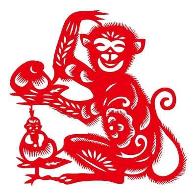 猴子献桃ebg1904手工剪纸年画镂空窗花门贴