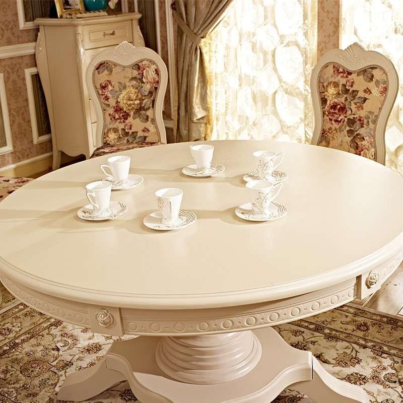 实木现代简约时尚白色韩式欧式宜家田园圆餐桌条形饭