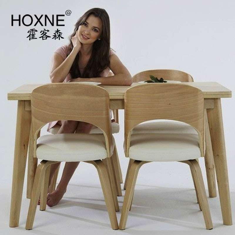 霍客森 原木时尚餐椅 北欧风格 靠背椅 咖啡椅 休闲椅