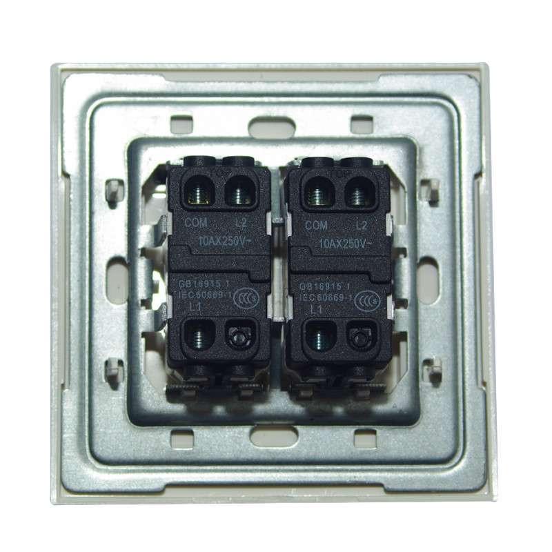 abb开关插座面板abb开关/超薄由艺 二开双控带灯带线au16553-ww高清