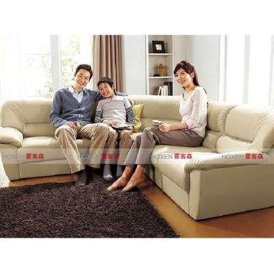 皮沙發超大客廳時尚休閑沙發 多人組合沙發 四件套組合 米色