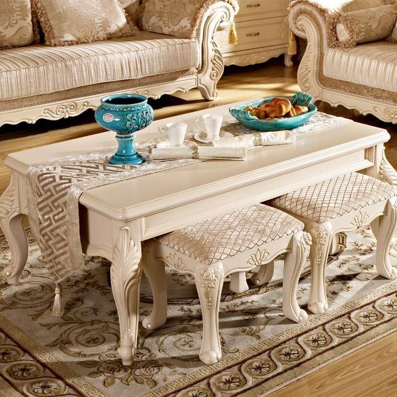 欧式高档实木长茶几象牙白色仿古白色简约时尚小户型功夫茶桌欧尚6