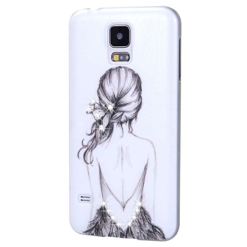 三星s5手机壳 水钻壳三星galaxy s5手机套 s5皮套 s5手机保护套 素描