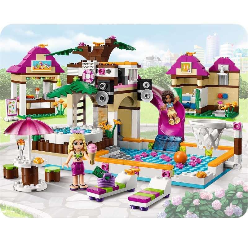 lego 乐高女孩系列心湖城泳池 41008 lego拼插玩具