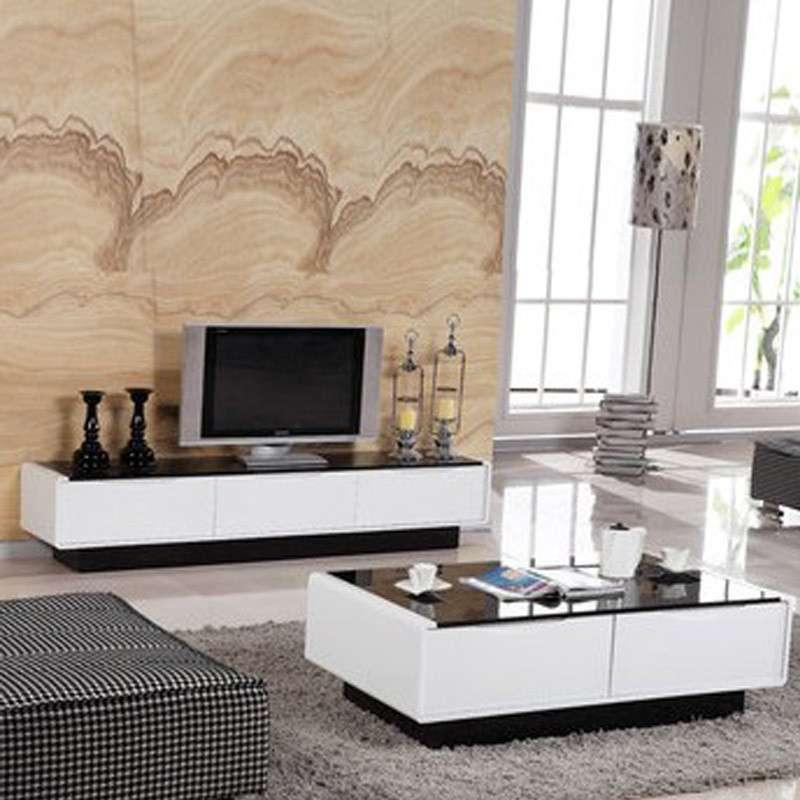 择木宜居 现代简约客厅电视柜 组合钢化玻璃面白色地柜 白色 电视柜