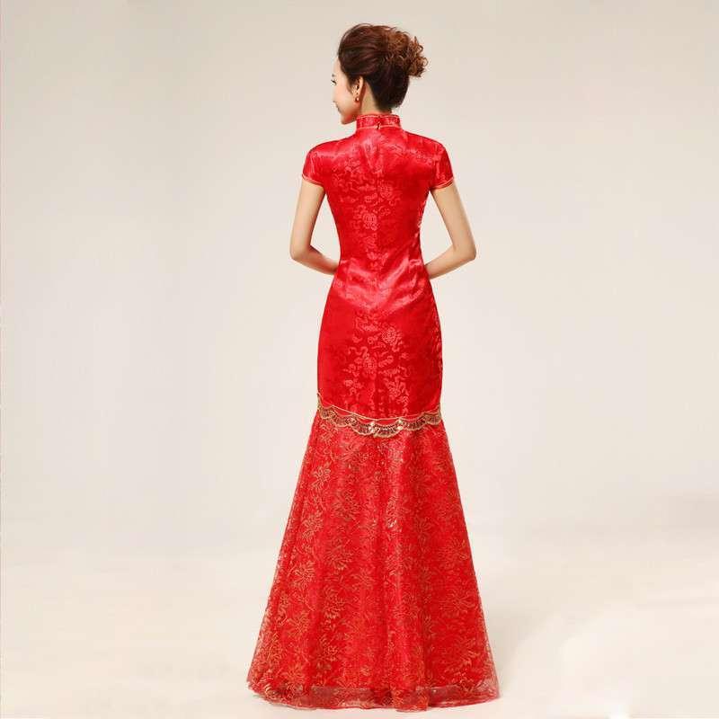 黛米琦新娘旗袍 结婚旗袍 旗袍裙 复古 长款 缝金丝凤凰 旗袍 改良 夏
