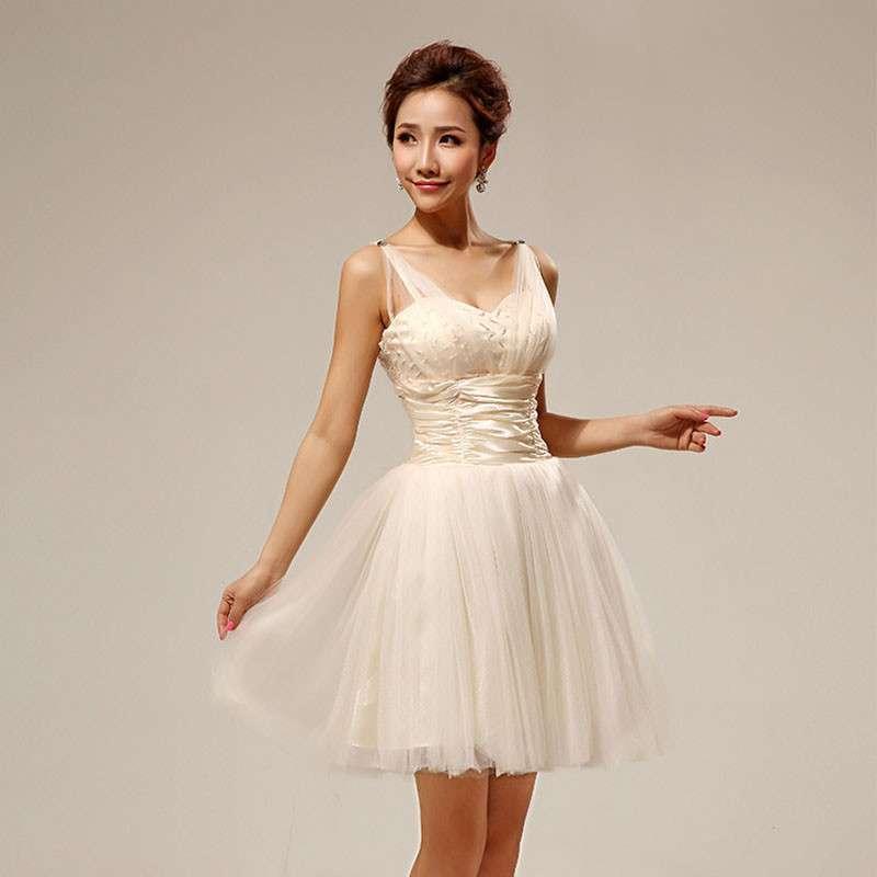 黛米琦2013新款双肩伴娘礼服 可爱蓬蓬裙短款伴娘服晚