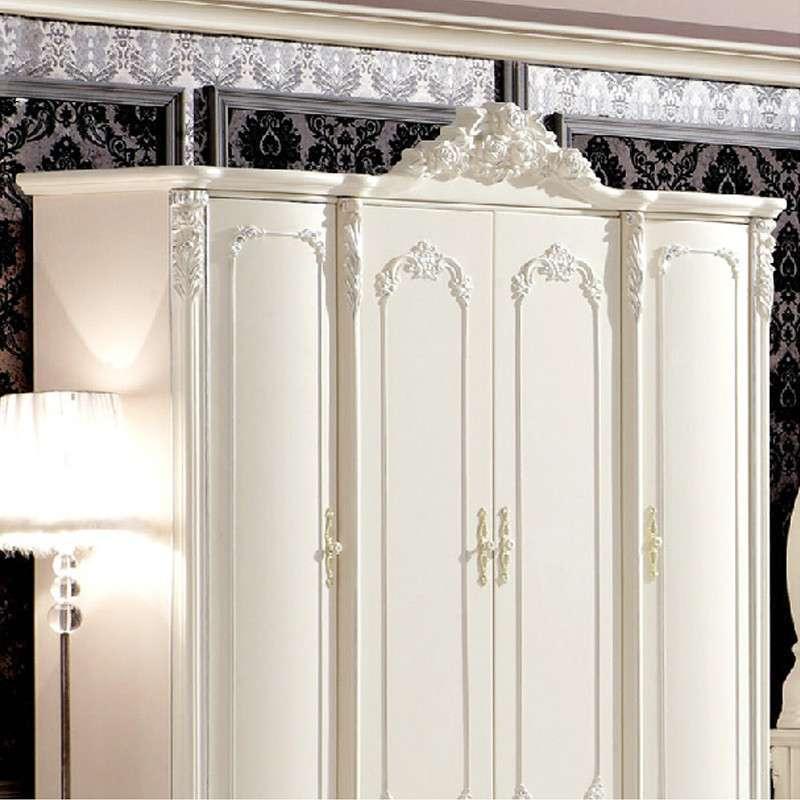 圣乔治法式田园四门衣柜 仿古白色欧式实木家具f1-d-9011 白色