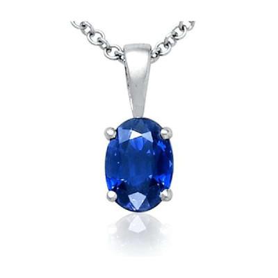 blue nile 女士18k白金椭圆蓝宝石镶钻项链 8144 银色