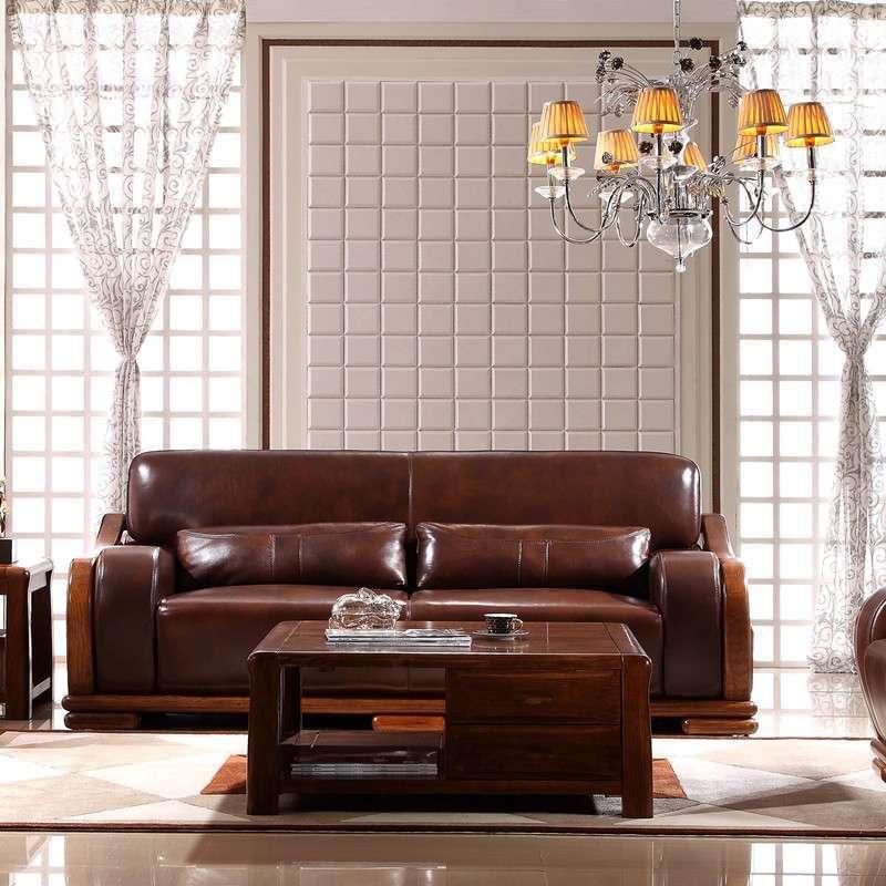 惠宜亚花梨实木沙发真皮沙发简约中式风