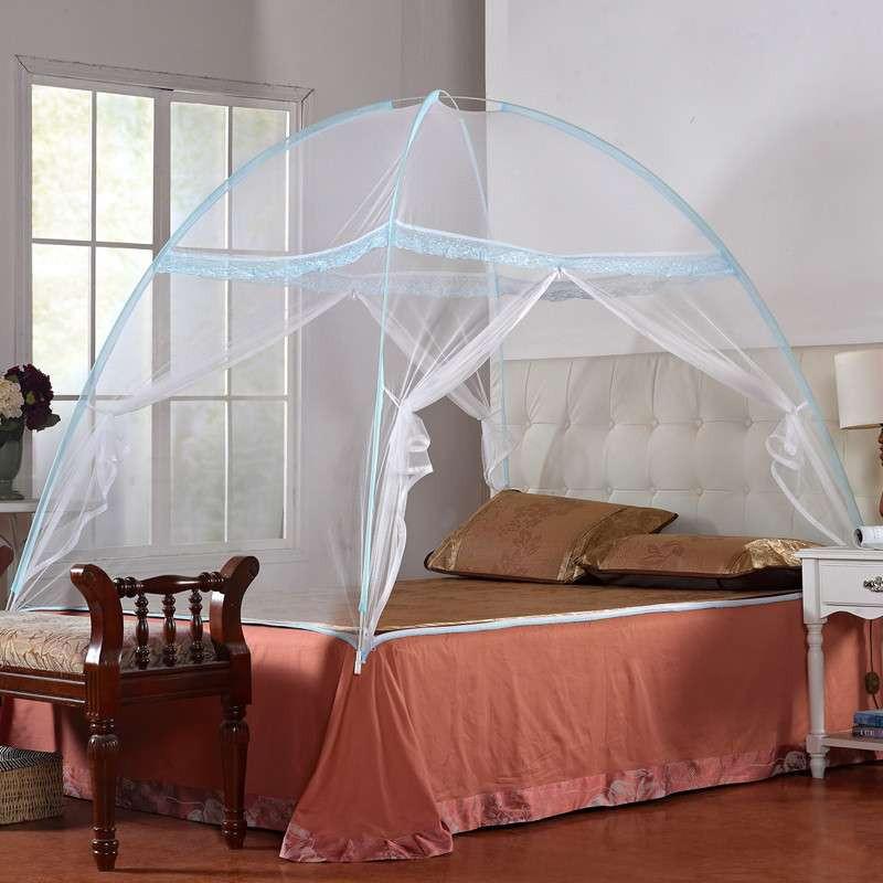 优雅100 十字支撑魔术蒙古包蚊帐 全自动免安装 水蓝色 1.5x1.95m