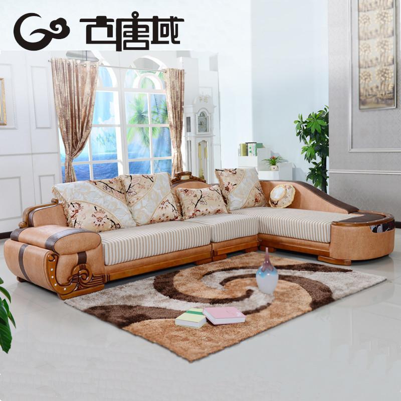 欧式真皮配布沙发 欧式皮沙发
