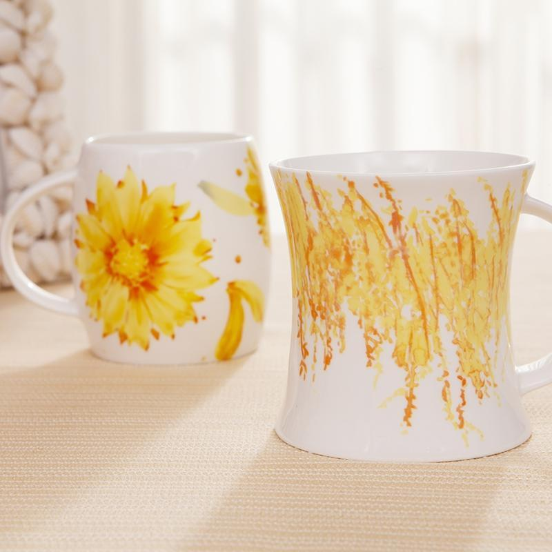 秋舞情侣杯 大小号创意马克陶瓷杯子造型凹凸杯可爱时尚