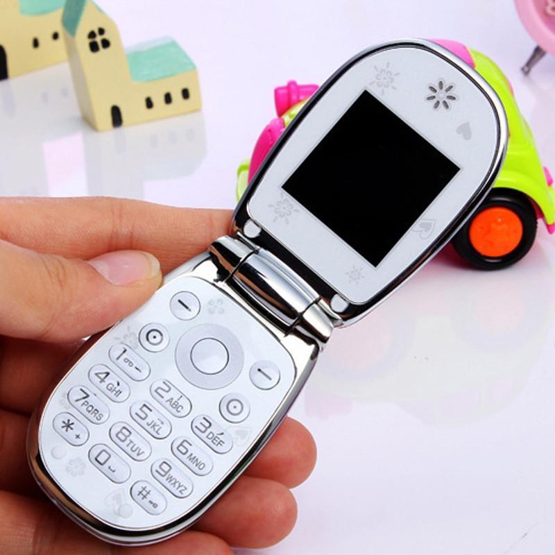 福中福f633b(白色)翻盖迷你手机七彩灯光装饰福中福钻石版儿童女士
