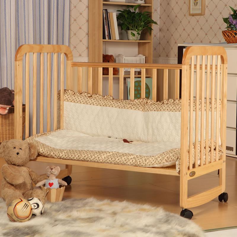 爱斯博儿 全实木高档婴儿床 欧式实木童床 儿童摇床 丘比特宝宝床7002