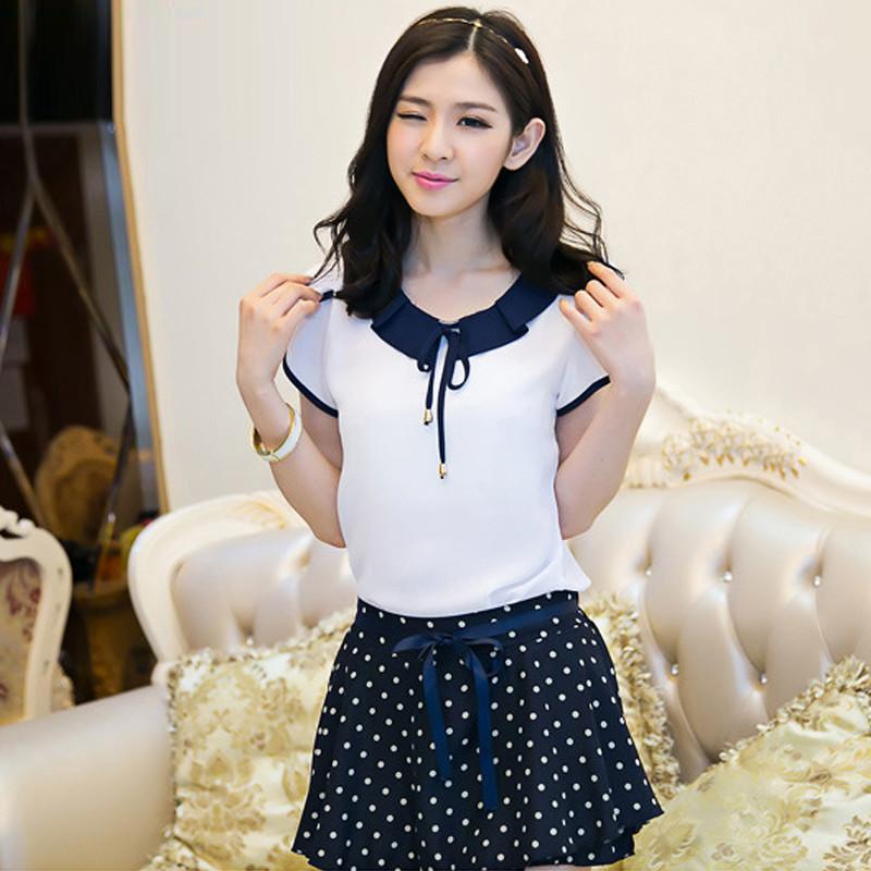 衣京环香 2014夏装新款 可爱娃娃领花瓣袖修身雪纺衫短袖女 b款白色 l