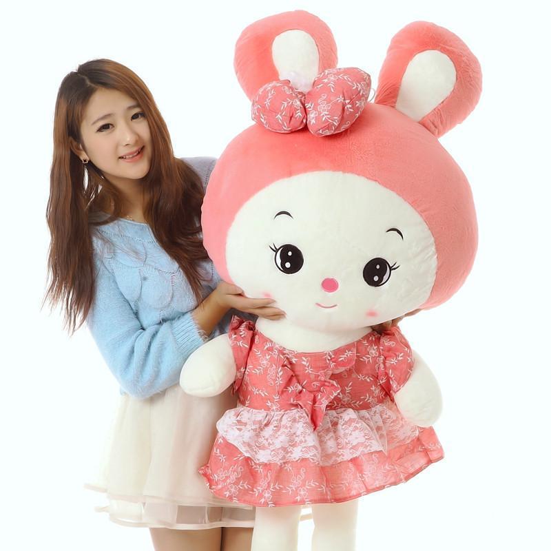 1米粉色可爱大号兔子小白兔公仔毛绒玩具布娃娃生日