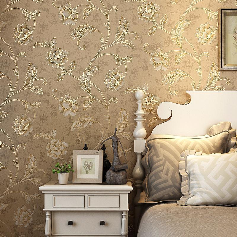 本木美式墙纸 无纺布壁纸 卧室满铺 复古3d立体浮雕大花客厅背景