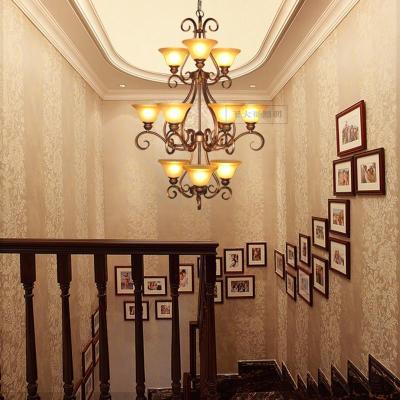 欧式楼梯吊灯复古铁艺灯具田园灯饰美式灯客厅大堂灯