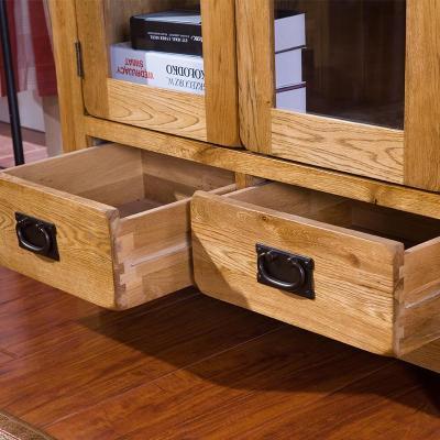 橡木书柜书架组合柜家具带门玻璃书橱书房家具隔断柜美式宜家抽屉