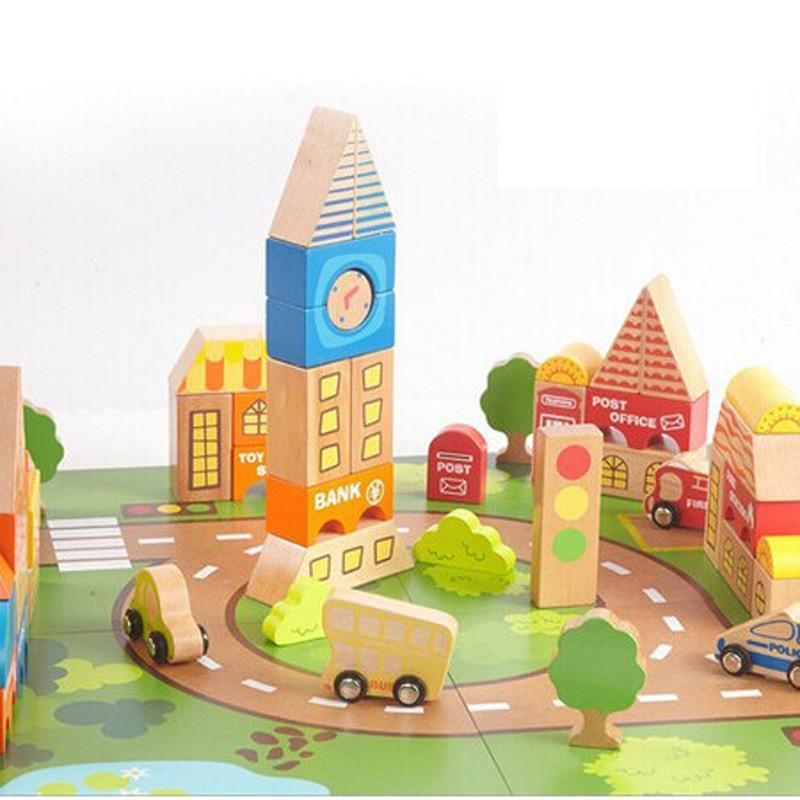 元智 益智儿童玩具 木制玩具 百变城市积木 木质积木 hc0104 a175高清