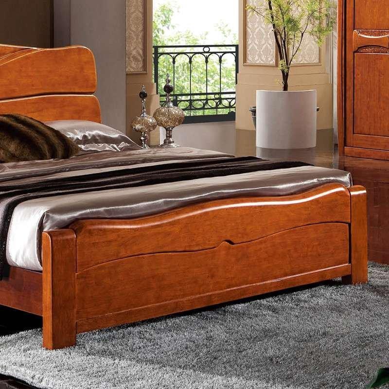 中式卧室实木床核桃木1