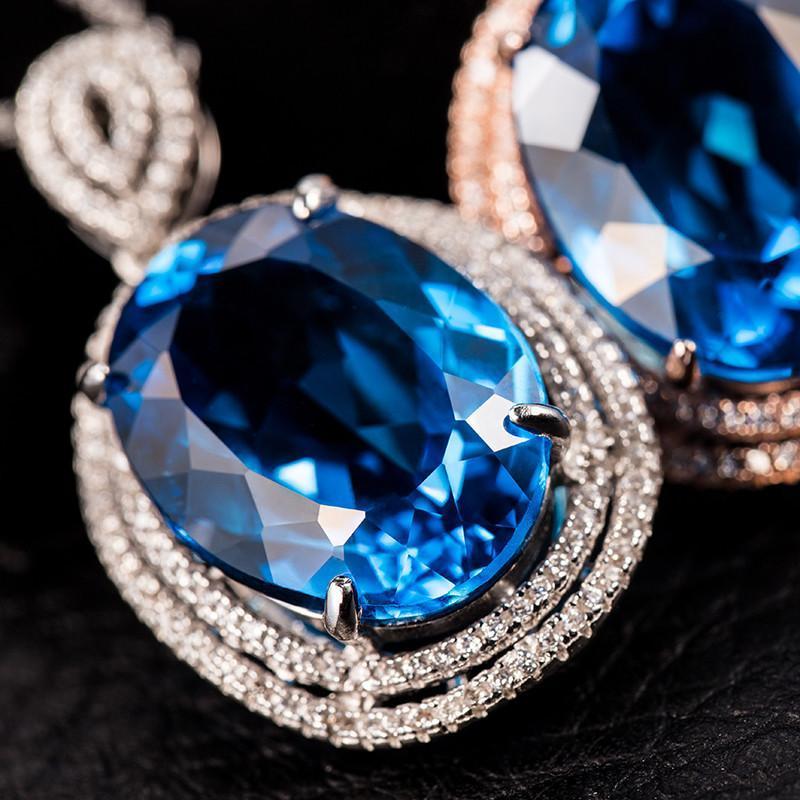 臻誉 正品纯天然海蓝宝石项链女 彩宝925银镶嵌24ct托帕石吊坠 玫瑰金