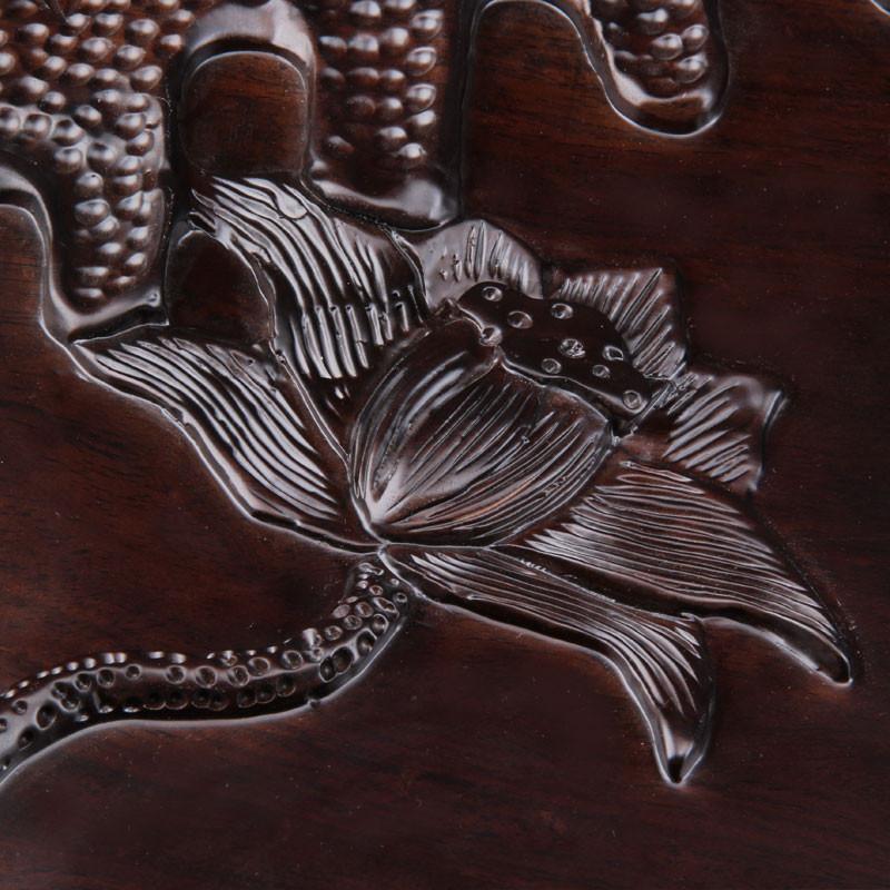 尊儒 黑檀木茶盘平板 手工雕刻整块 大号黑檀木茶盘整套茶具套装