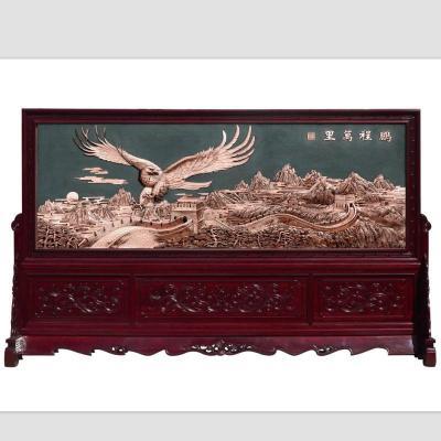 万里大老鹰紫铜浮雕办公墙