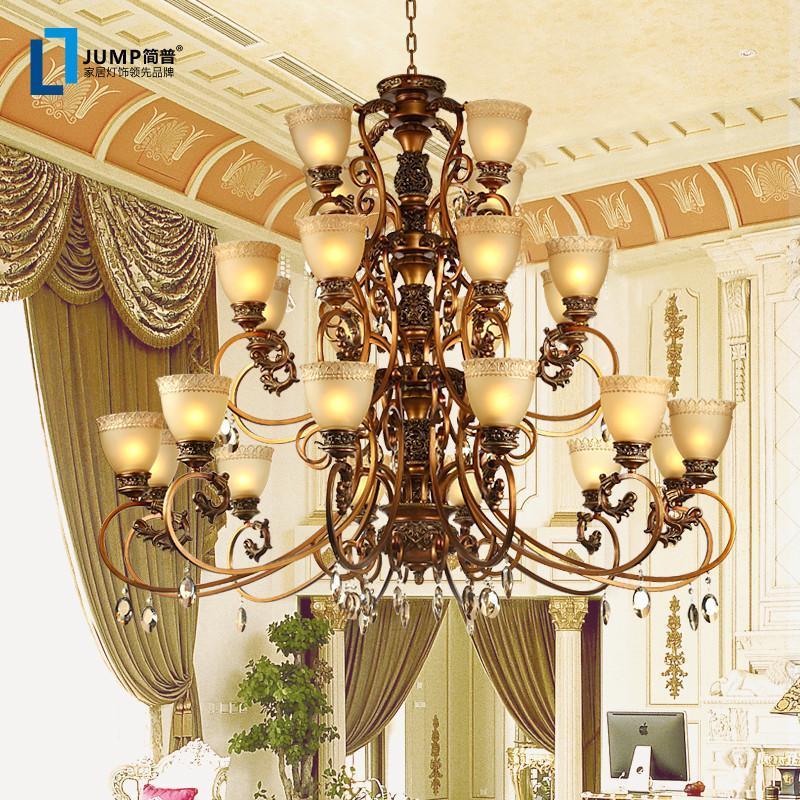 简普家装灯具欧式吊灯复古客厅吊灯简欧餐厅灯欧式水晶树脂吊灯欧式