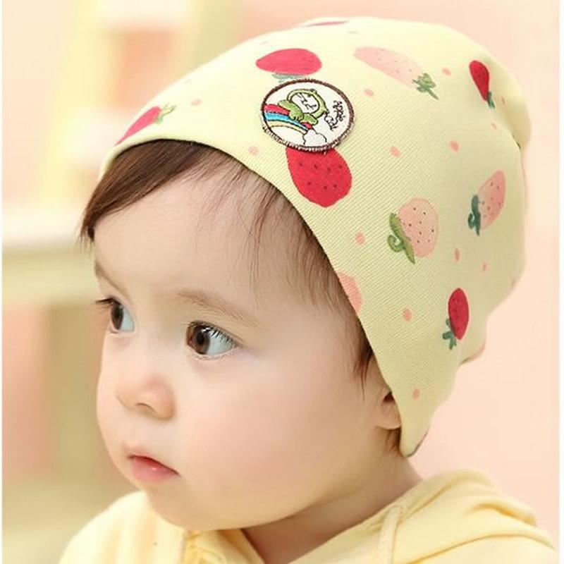 韩版可爱草莓套头帽 婴幼儿童宝宝纯棉胎帽 0-1岁春夏季薄帽子 粉红色