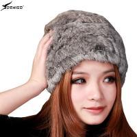 deniso帽子冬帽女款纯手工编织帽保暖帽兔毛帽