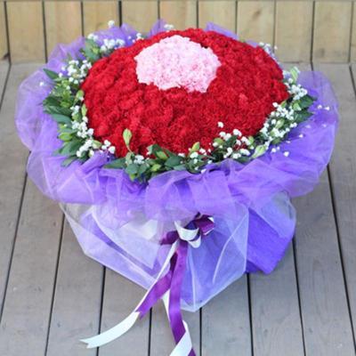 五二零 鲜花速递 母亲节鲜花 99朵康乃馨花束 生日祝福鲜花 款五