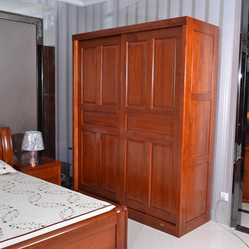 【维森奇居】衣柜 衣橱 移门衣柜 水曲柳卧室衣柜 全实木衣柜 水曲柳