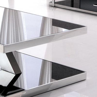 [库米kumi]时尚客厅茶几现代简约金属镜面不锈钢黑色钢化玻璃cj-1033图片