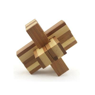 儿童木制孔明锁鲁班锁套装 成人智力拆装玩具【竹制六通孔明锁】
