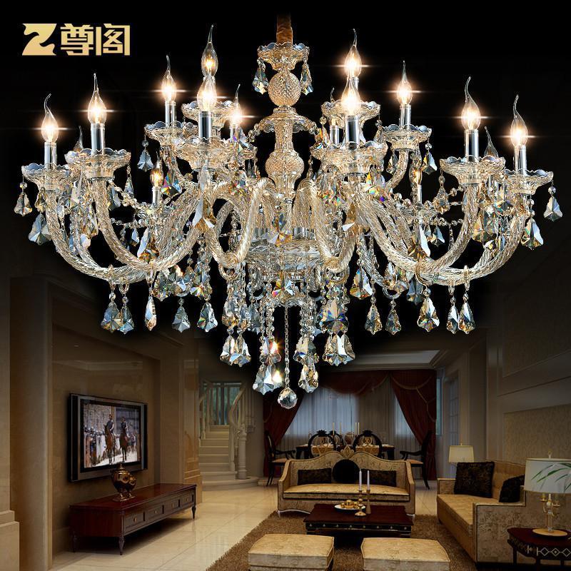尊阁简欧欧式水晶灯餐灯 别墅客厅大厅客厅水晶吊灯现代简约z002