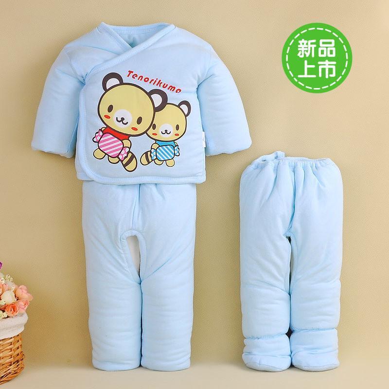 angelbaby新生儿棉衣童套装宝宝衣服棉服卡通可爱小熊咖啡熊三件套 优
